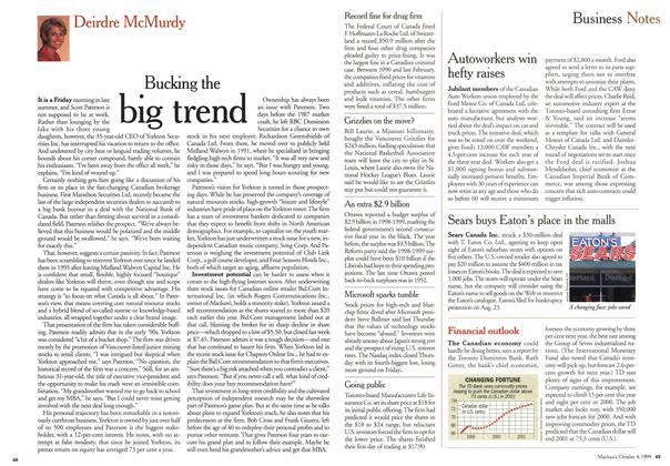 Article Preview: Bucking the big trend, October 1999 | Maclean's