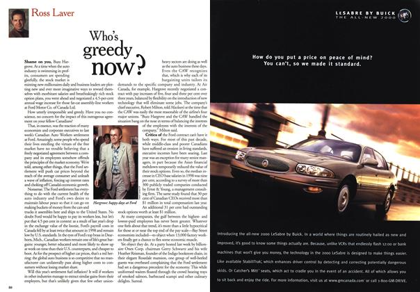 Article Preview: Who's greedy now?, October 1999 | Maclean's