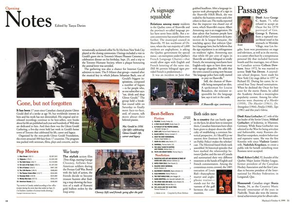 Article Preview: Opening Notes, October 1999 | Maclean's