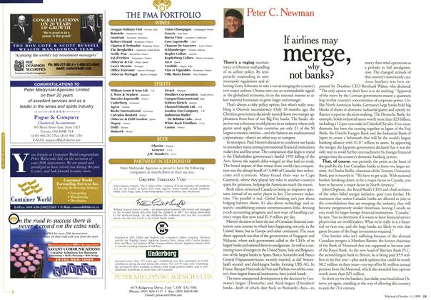 Article Preview: If airlines may merge, why not banks?, October 1999 | Maclean's