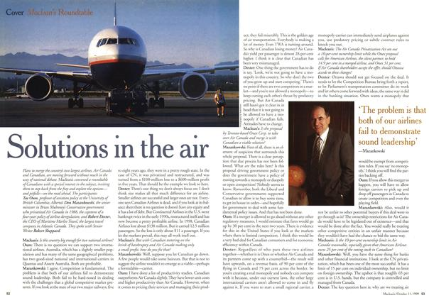 Article Preview: Solutions in the air, October 1999 | Maclean's