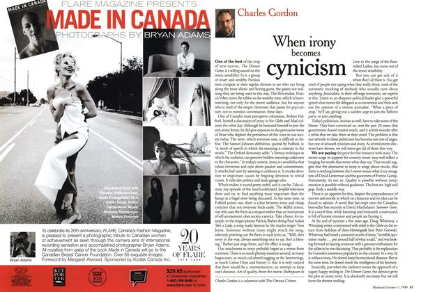 Article Preview: When irony becomes cynicism, October 1999 | Maclean's
