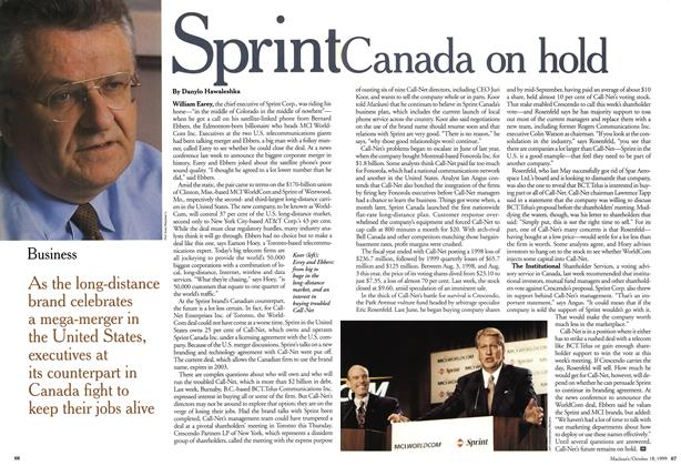 Article Preview: Sprint Canada on hold, October 1999 | Maclean's