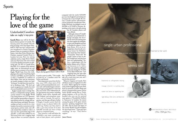 Article Preview: Playing for the love of the game, October 1999 | Maclean's