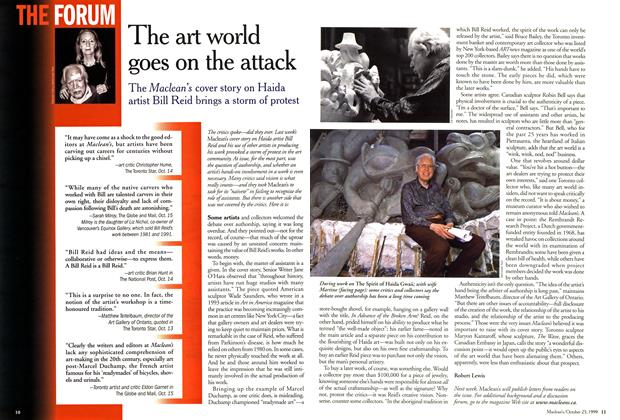 Article Preview: The art world goes on the attack, October 1999 | Maclean's