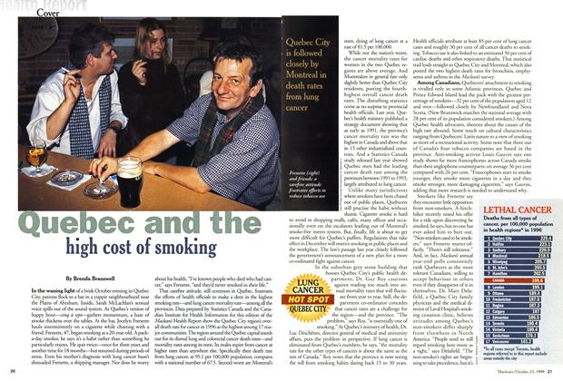 Article Preview: Quebec and the high cost of smoking, October 1999 | Maclean's
