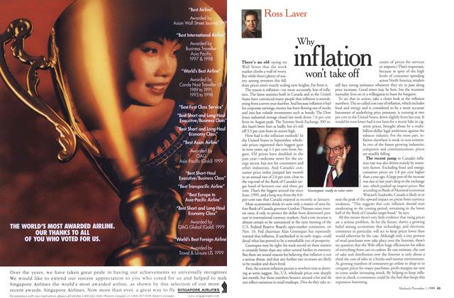 Article Preview: Why inflation won't take off, November 1999 | Maclean's