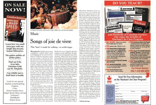 Article Preview: Songs of joie de vivre, November 1999 | Maclean's