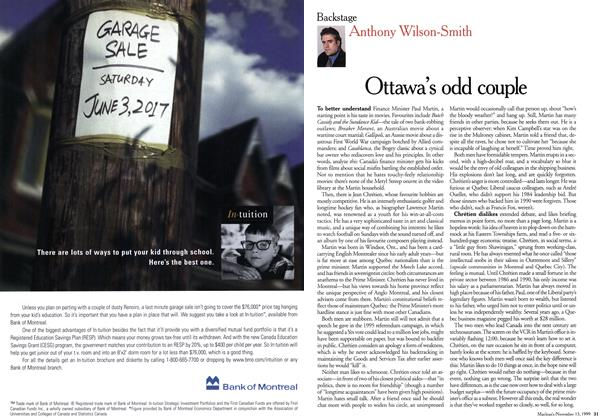 Article Preview: Ottawa's odd couple, November 1999 | Maclean's
