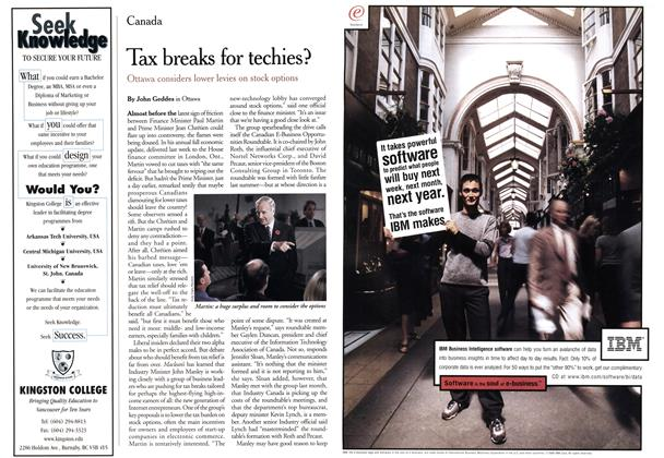 Article Preview: Tax breaks for techies?, November 1999 | Maclean's