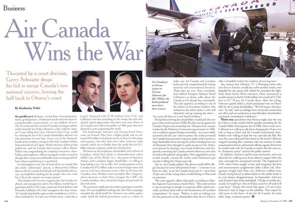 Article Preview: Air Canada Wins the War, November 1999 | Maclean's