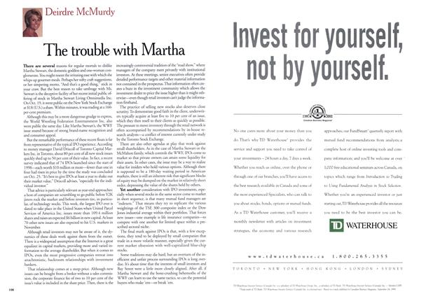 Article Preview: The trouble with Martha, November 1999 | Maclean's