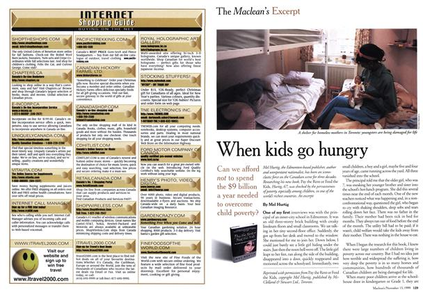 Article Preview: When kids go hungry, November 1999 | Maclean's