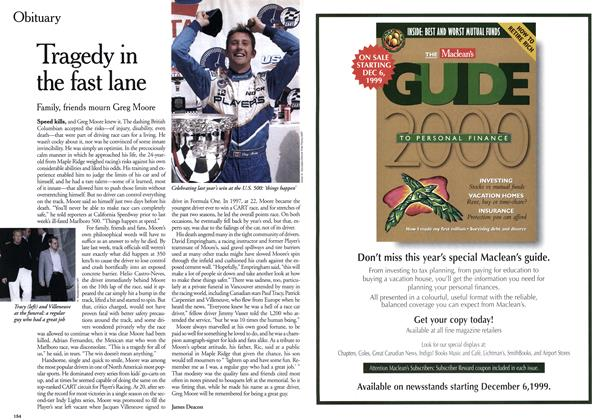 Article Preview: Tragedy in the fast lane, November 1999 | Maclean's