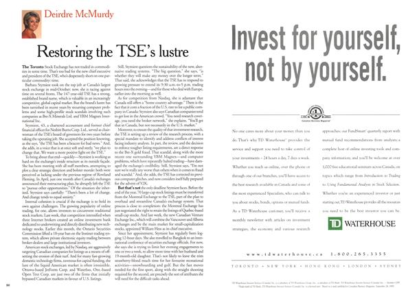 Article Preview: Restoring the TSE's lustre, November 1999 | Maclean's