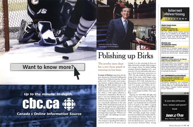 Article Preview: Polishing up Birks, December 1999 | Maclean's