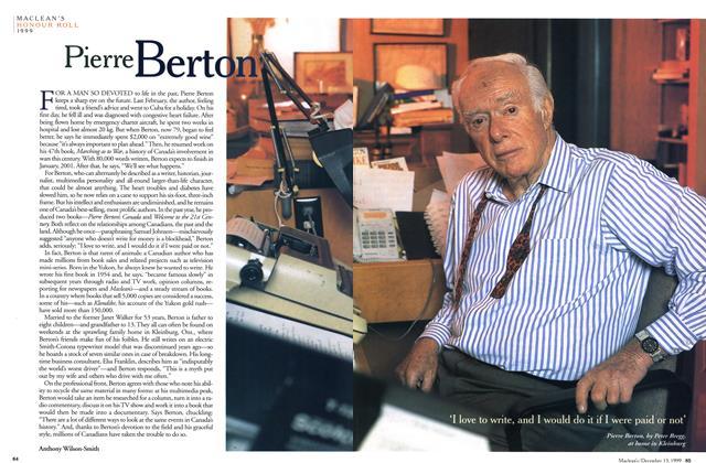 Article Preview: Pierre Berton, December 1999 | Maclean's