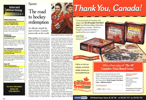 Article Preview: The road to hockey redemption, January 2000 | Maclean's