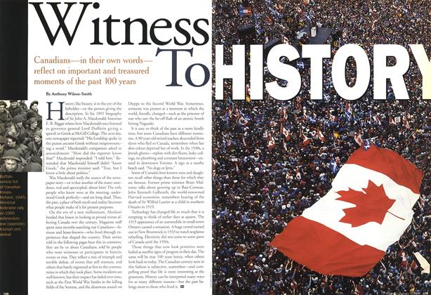 Article Preview: Witness To HISTORY, January 2000 | Maclean's