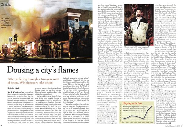 Article Preview: Dousing a city's flames, January 2000 | Maclean's