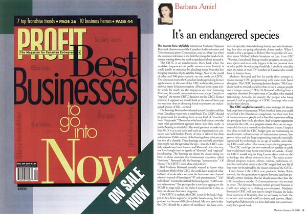 Article Preview: It's an endangered species, January 2000 | Maclean's
