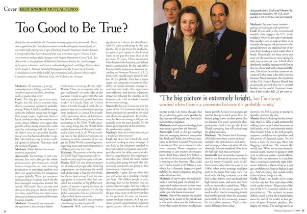 Article Preview: Too Good to Be True ?, January 2000 | Maclean's