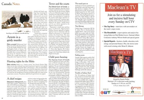 Article Preview: Canada Notes, January 2000   Maclean's