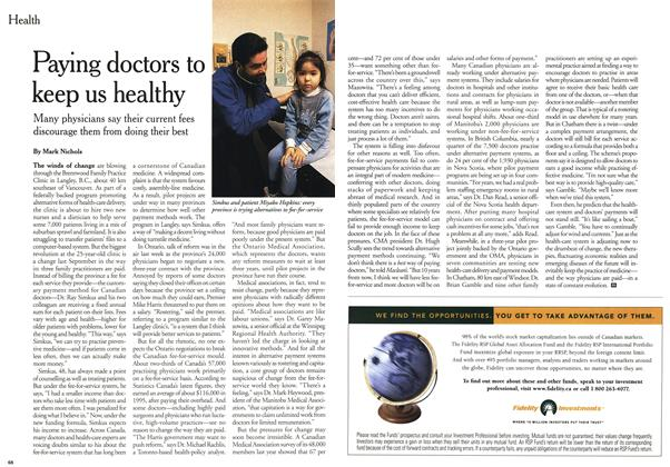 Article Preview: Paying doctors to keep us healthy, January 2000 | Maclean's