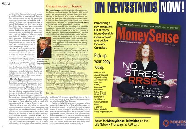 Article Preview: Cat and mouse in Toronto, February 2000   Maclean's