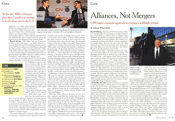Article Preview: Alliances, Not Mergers, February 2000 | Maclean's