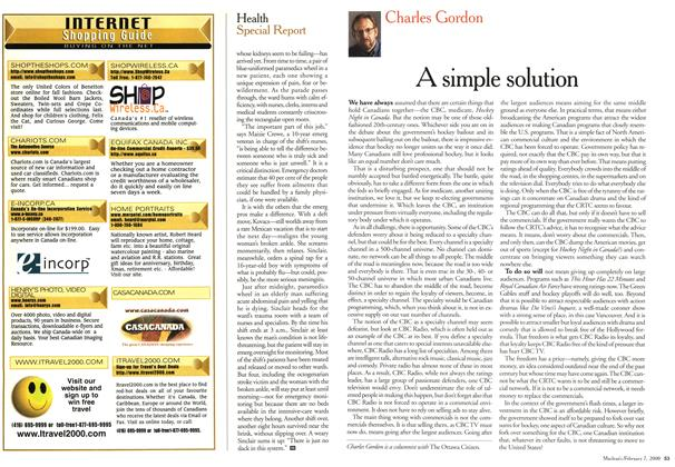 Article Preview: A simple solution, February 2000 | Maclean's