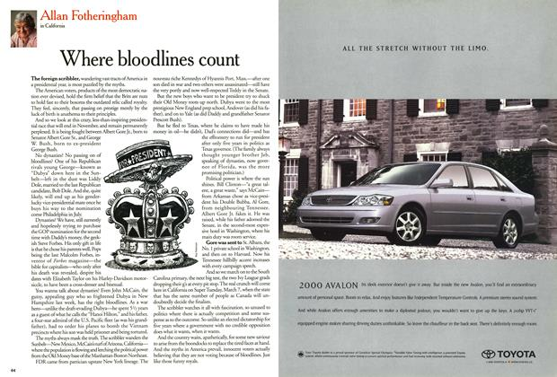 Article Preview: Where bloodlines count, February 2000 | Maclean's