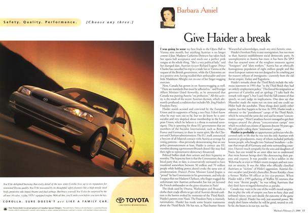 Article Preview: Give Haider a break, February 21,2000 2000 | Maclean's