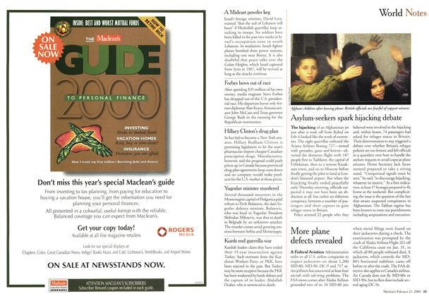 Article Preview: World Notes, February 21,2000 2000 | Maclean's