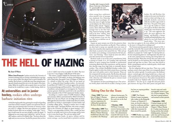 Article Preview: THE HELL OF HAZING, March 2000 | Maclean's