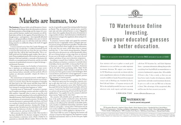 Article Preview: Markets are human, too, March 2000 | Maclean's
