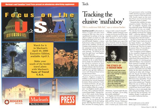 Article Preview: Tacking the elusive 'mafiaboy', March 2000 | Maclean's