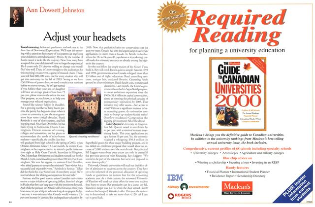 Article Preview: Adjust your headsets, March 2000 | Maclean's