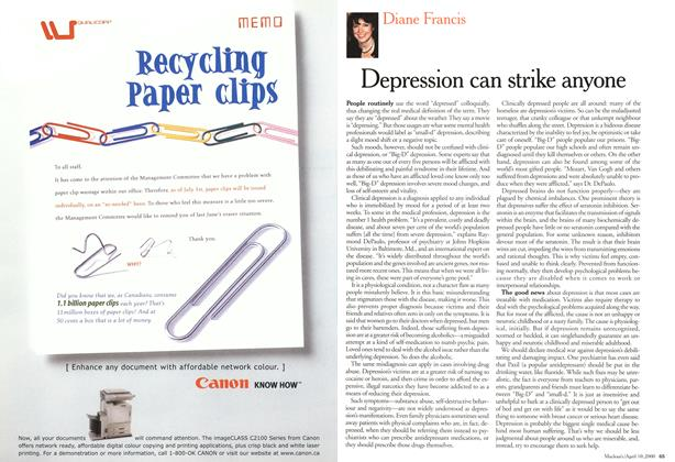 Article Preview: Depression can strike anyone, April 2000 | Maclean's