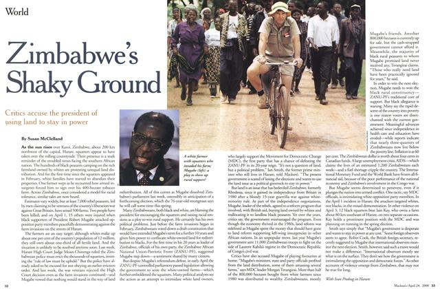 Article Preview: Zimbabwe's Shaky Ground, April 2000 | Maclean's