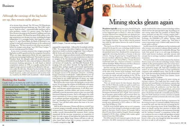 Article Preview: Mining stocks gleam again, April 2000 | Maclean's