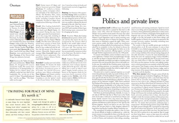 Article Preview: Politics and private lives, June 2000 | Maclean's