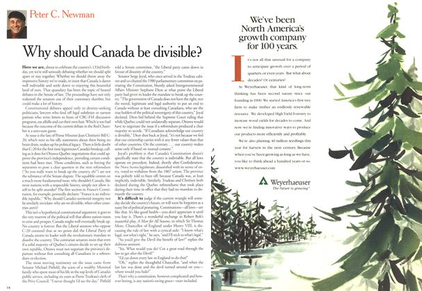 Article Preview: Why should Canada be divisible?, June 2000 | Maclean's