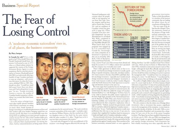 Article Preview: The Fear of Losing Control, July 2000 | Maclean's