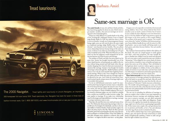 Article Preview: Same-sex marriage is OK, July 2000   Maclean's