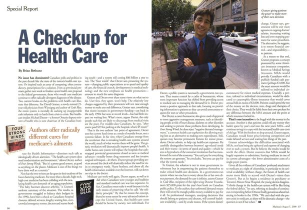Article Preview: A Checkup for Health Care, August 2000 | Maclean's