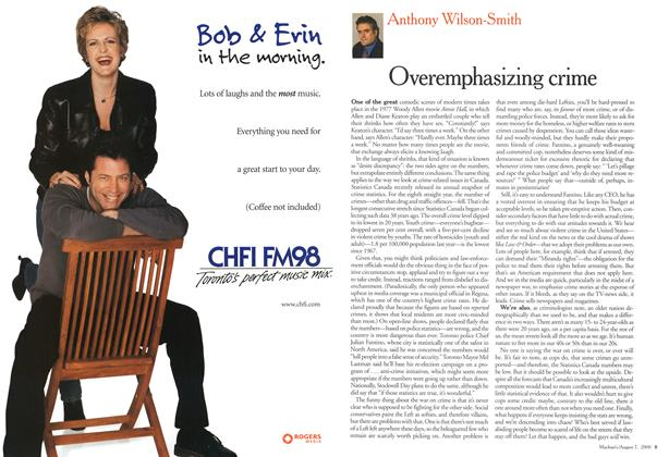 Article Preview: Overemphasizing crime, August 2000 | Maclean's