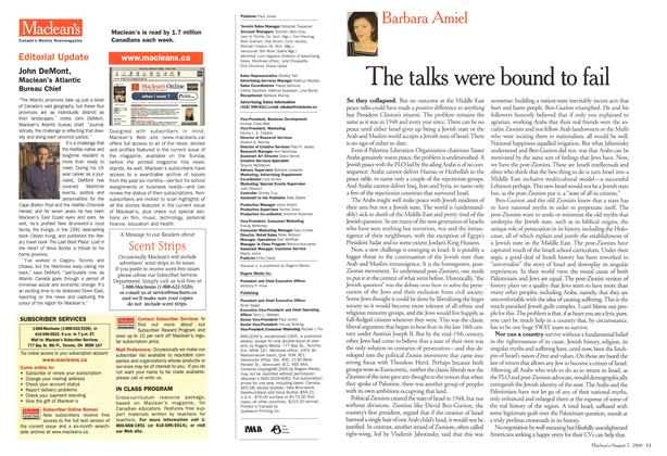Article Preview: The talks were bound to fail, August 2000 | Maclean's