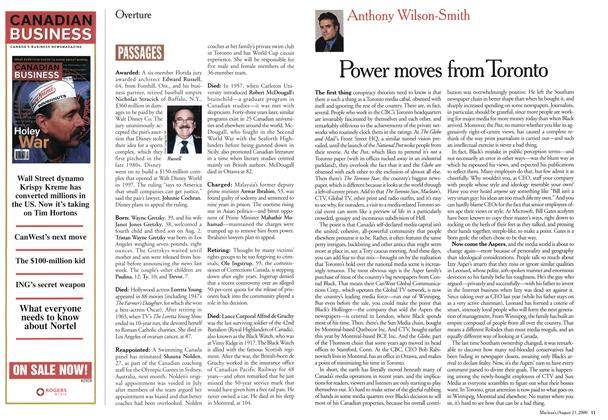 Article Preview: Power moves from Toronto, August 2000 | Maclean's