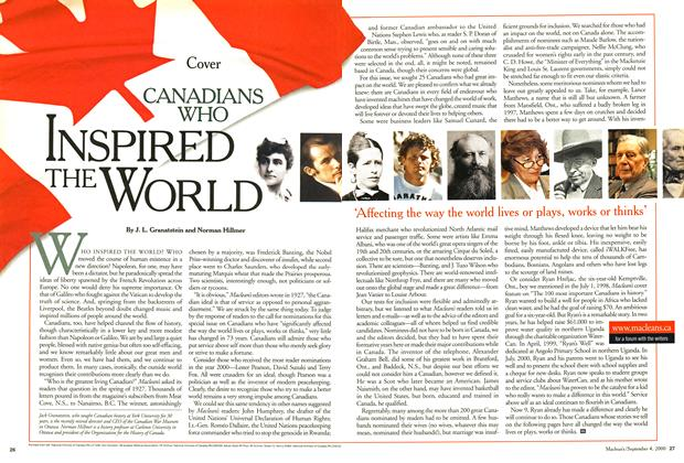 Article Preview: CANADIANS WHO INSPIRED THE WORLD, September 2000 | Maclean's